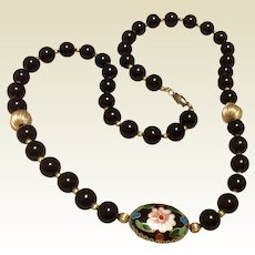 Onyx Cloissone & Gold Filled Bead Necklace