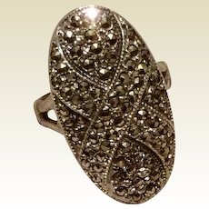 Marcasite Art Deco Ring Sterling Silver Size 7