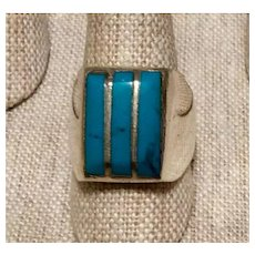 Man's Native American Sterling Silver Turquoise Ring  Size 10 1/2