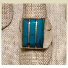 Man's Sterling Silver Turquoise Ring  Size 10 1/2