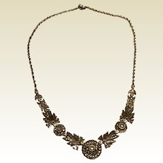 Marcasite Art Deco Sterling Silver Bib Necklace
