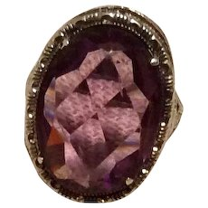 Faceted Amethyst Glass Art Deco Sterling Silver Ring