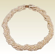 Estate Freshwater Pearl 6 Strand Necklace 14K Clasp