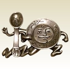 Dish Ran Away With Spoon Sterling Silver Brooch J. H. Breakell