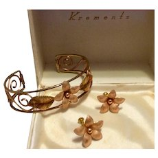 Krementz Rose Yellow Gold Bracelet & Earrings