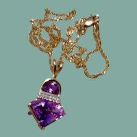 14K Trillion Cut Amethyst & Diamond Pendant Necklace