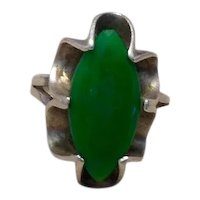 Native American Sterling Green Agate Ring