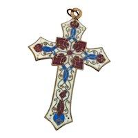 Victorian French Cloisonné Enamel Cross