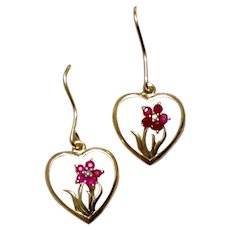 Sterling Vermeil Ruby & Diamond Earrings