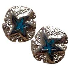 900 Silver Enameled Starfish Earrings