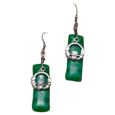 Faux Malachite Irish Claddagh Dangle Earrings Sterling