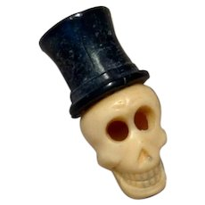 Celluloid Skull With Black Top Hat
