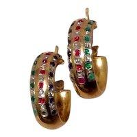 Gold Gilt Rhinestone Hoop Earrings