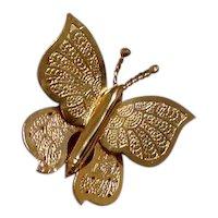 Butterfly Brooch Gold Tone Metal