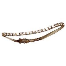 Gold Gilt Rhinestone Tennis Bracelet