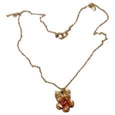 Krementz Two Tone Rose Pendant Necklace