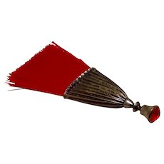Miniature Red Whisk Broom With Red Rhinestone Tip