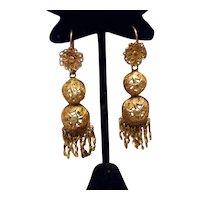 Etruscan Brass Dangle Fringed Earrings