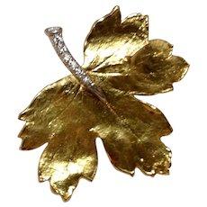 19K Diamond Platinum Map;e Leaf Brooch