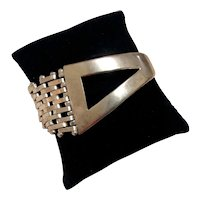 Taxco Mexican Sterling Gate Link Cuff Bracelet MCM