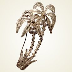 900 Silver Filigree Palm Tree Brooch