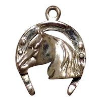 Horsehead Horseshoe Charm Sterling