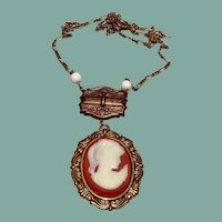 Copper Tone Cameo Pendant Necklace NOS