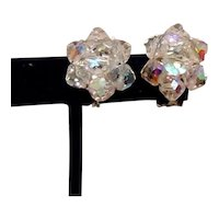 Silver Tone Clear AB Crystal Clip Earrings