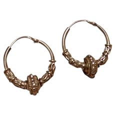Sterling Decorative Hoop Earrings