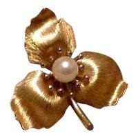 Gold Overlay Cultured Pearl Flower Brooch Krementz
