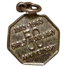 Sterling 1913 - 1963 Girls Auxiliary 50 Year Charm/Medal