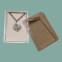 Silver Tone St. Jpseph & Jesus Pendant Necklace Original Case NOS