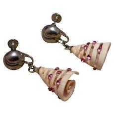 White & Pink Christmas Tree Earrings
