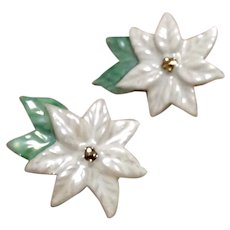 Plastic White Poinsettia Clip Earrings