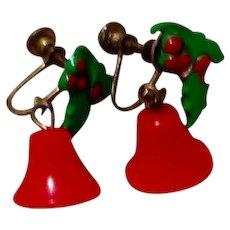 Red Plastic Holly Bell Dangle Earrings