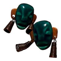 Copper Tribal Mask Screw Back Earrings