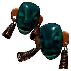 Copper Tribal Mask Screw Back Earrings