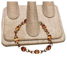 12K Gold Filled Topaz Colored Stone Flexible Link Bracelet