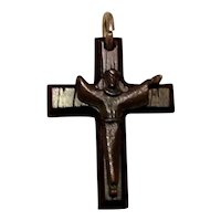 Celluloid Black Crucifix Cross NOS