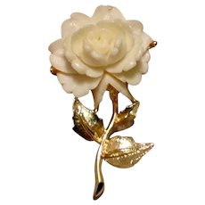 Celluloid Gold Tone Floral Brooch NOS
