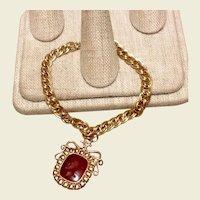 Gold Filled Carnelian Intaglio Watch Fob Bracelet