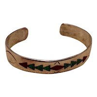Native American Coral & Turquoise Inlay Cuff Bracelet Sterling