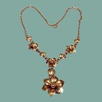 12K Gold Filled On Sterling Silver Floral Necklace