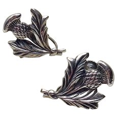 Sterling Silver Thistle Earrings