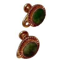 12K Gold Filled Jade Earrings