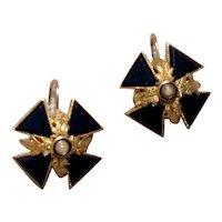 Victorian 14K Gold Black Onyx Seed Pearl Maltese Cross Earrings Mourning Jewelry