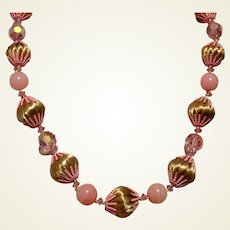 Pink & Gold Beaded Vendome Necklace