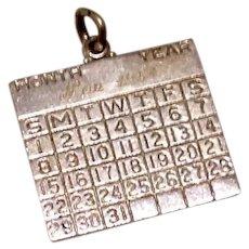 November 1952 Sterling Silver Calendar