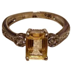 Sterling Citrine Clear Rhinestone Ring Size 6 1/2