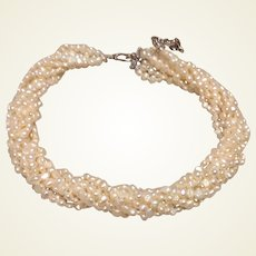 Torsade Rice & Button Pearl Necklace